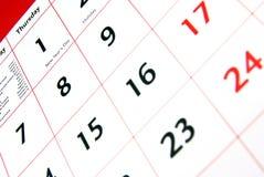 Detalle del calendario Foto de archivo