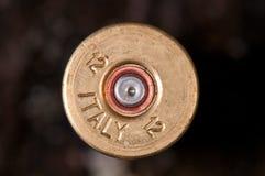 Detalle del cartucho encendido de la escopeta Fotografía de archivo libre de regalías
