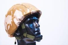 Detalle del casco del soldado   Foto de archivo