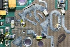 Detalle del circuito de la microonda Imágenes de archivo libres de regalías
