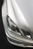 Detalle del coche, luces, plata metálica Fotografía de archivo libre de regalías