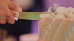Detalle del corte del pastel de bodas por el pastel de bodas de los recienes casados metrajes