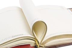 Detalle del cuaderno en blanco abierto Fotos de archivo libres de regalías