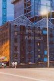 Detalle del cuadrado de Grand Canal en centro de ciudad de Dublín en la puesta del sol foto de archivo