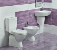 Detalle del cuarto de baño moderno con el fregadero, el retrete y el bidé Imagenes de archivo