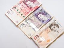 Detalle del dinero de los billetes de banco de la libra británica Imagen de archivo