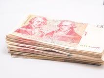 Detalle del dinero de los billetes de banco de la libra británica Imagen de archivo libre de regalías