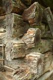 Detalle del edificio de madera antiguo Imagen de archivo libre de regalías