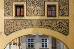Detalle del edificio viejo en Praga Fotos de archivo