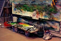 Detalle del estudio al aire libre de la pintura Imágenes de archivo libres de regalías