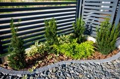 Detalle del jardín: cerca con la esquina de los árboles de ciprés imagen de archivo libre de regalías