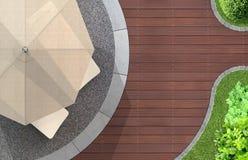 Detalle del jardín con la sombrilla y los deckchairs Fotos de archivo