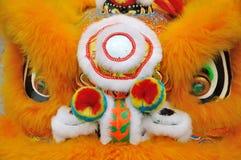 Detalle del león de la característica en danza china del león Fotografía de archivo libre de regalías