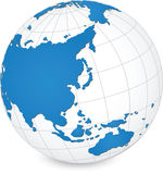 Detalle del mapa del mundo y del globo stock de ilustración