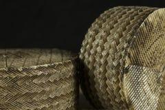 Detalle del modelo de zigzag en la corteza de los quesos de Manchego creados por los moldes de esparto Foto de archivo libre de regalías