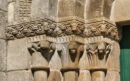 Detalle del monasterio del romanesque del sao Pedro de Ferreira Foto de archivo libre de regalías