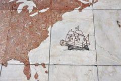 Detalle del monumento a los descubrimientos Lisboa Portugal Imagen de archivo libre de regalías