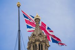 Detalle del palacio del edificio de Westminster en centavo de la ciudad de Londres Foto de archivo libre de regalías