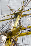 Detalle del palo de la barca vieja Mircea del buque Imagenes de archivo