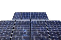 Detalle del panel solar aislado en blanco Imagen de archivo libre de regalías