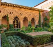 Detalle del patio de la arquitectura islámica hispánica Imagenes de archivo