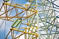 Detalle del pilón de la línea eléctrica Imagen de archivo libre de regalías
