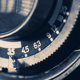Detalle del primer de una lente de cámara del vintage Fotos de archivo libres de regalías