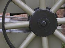 Detalle del primer de una rueda de Spoked de un ca??n stock de ilustración