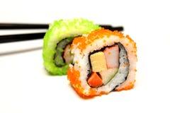 Detalle del primer del sushi del nigiri Imagen de archivo