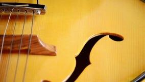 Detalle del puente, de secuencias y de efes de una guitarra eléctrica del jazz que gira metrajes