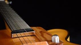 Detalle del puente, de secuencias y de efes de una guitarra eléctrica del jazz que gira almacen de video