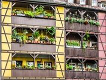 Detalle del puente del comerciante de las casas, Erfurt, Alemania Fotografía de archivo