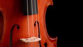 Detalle del puente del violín o de la viola que gira en el fondo negro almacen de metraje de vídeo