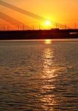 Detalle del puente en Riga, en la puesta del sol. Imagenes de archivo