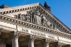 Detalle del Reichstag Imagen de archivo libre de regalías