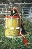 Detalle del tambor, Daniel Boone Homestead Brigade de la revolución americana, ejército continental, reconstrucción histórica Fotografía de archivo