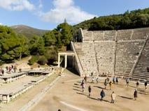 Detalle del teatro antiguo de Epidaurus en Grecia Fotografía de archivo libre de regalías
