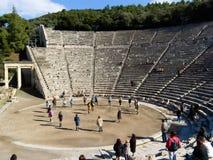 Detalle del teatro antiguo de Epidaurus en Grecia Imágenes de archivo libres de regalías