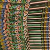 Detalle del tejado coreano tradicional, ornamento adornado colorido Fotografía de archivo libre de regalías