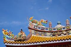 Detalle del tejado de Kwan Tai Temple en Yokohama Chinatown Fotos de archivo libres de regalías