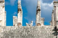 Detalle del templo de los guerreros Foto de archivo libre de regalías