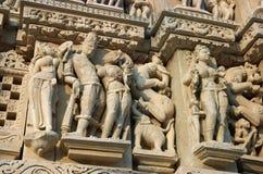 Detalle del templo hindú en Khajuraho, la India Imagenes de archivo