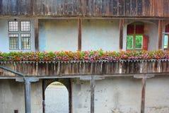 Detalle del terraplén del castillo de Gruyeres Fotos de archivo