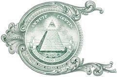 Detalle del un billete de dólar, mostrando la pirámide con el ojo y la inscripción Annuit Coeptis fotos de archivo libres de regalías