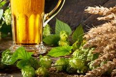 Detalle del vidrio de cerveza con los saltos Fotografía de archivo