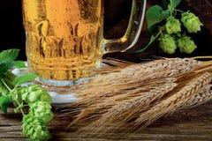 Detalle del vidrio de cerveza con los saltos Fotografía de archivo libre de regalías