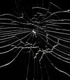 Detalle del vidrio roto - grietas y cascos fotografía de archivo
