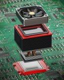 Detalle estallado de la fan y del disipador de calor en la CPU ilustración 3D stock de ilustración
