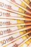 Detalle euro de la fan de la moneda Fotos de archivo libres de regalías