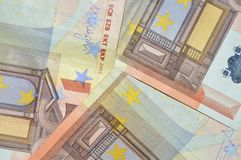 Detalle euro del backgound de cincuenta billetes de banco Foto de archivo